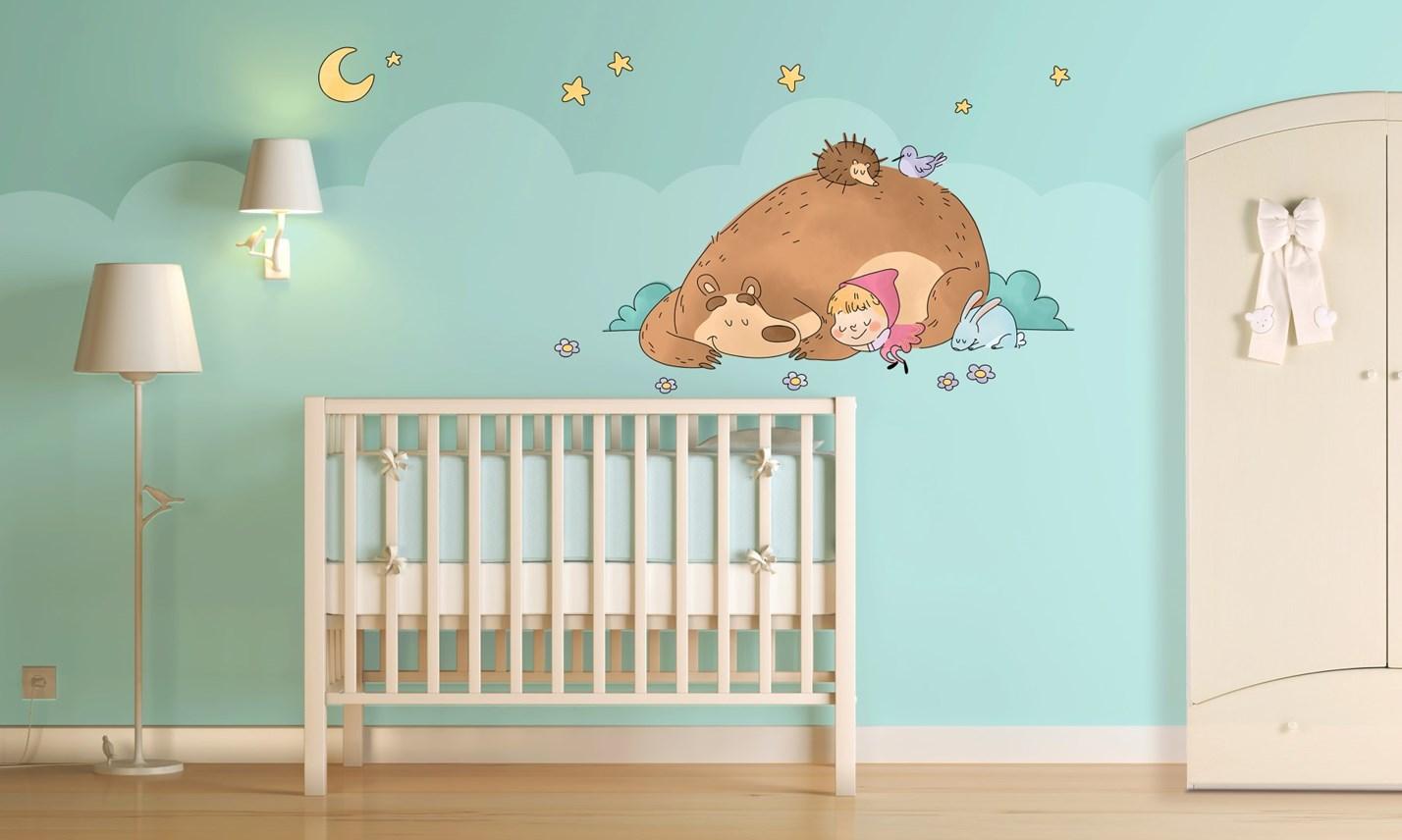 Stickers murali bambini cameretta masha e orso leostickers for Adesivi murali x bambini